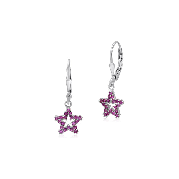 UNICORNJ Sterling Silver 925 Open Star Dangle Leverback Earrings with Pave Cubic Zirconia Dark Pink Italy