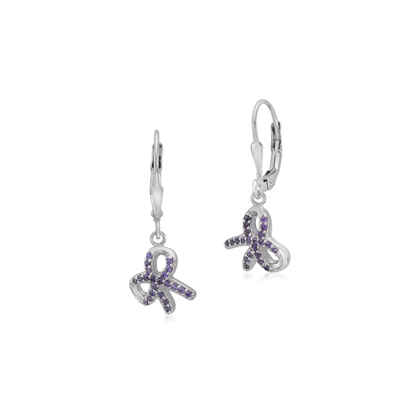 UNICORNJ Sterling Silver 925 Bow Charm Dangle Leverback Earrings with Pave CZ Purple Italy