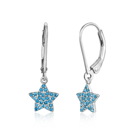 Sterling Silver 925 Star Dangle Leverback Earrings with Pavé Cubic Zirconia Blue
