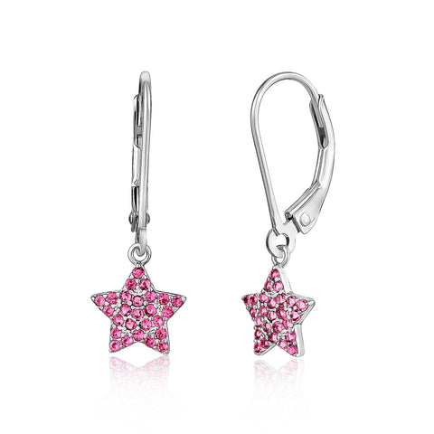 Sterling Silver 925 Star Dangle Leverback Earrings with Pavé Cubic Zirconia Dark Pink