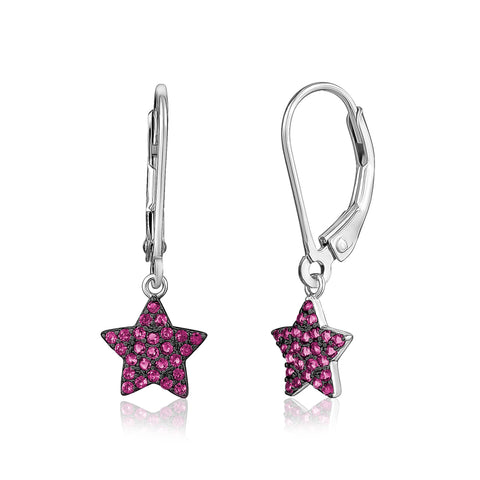 Sterling Silver 925 Star Dangle Leverback Earrings with Pavé Cubic Zirconia Red