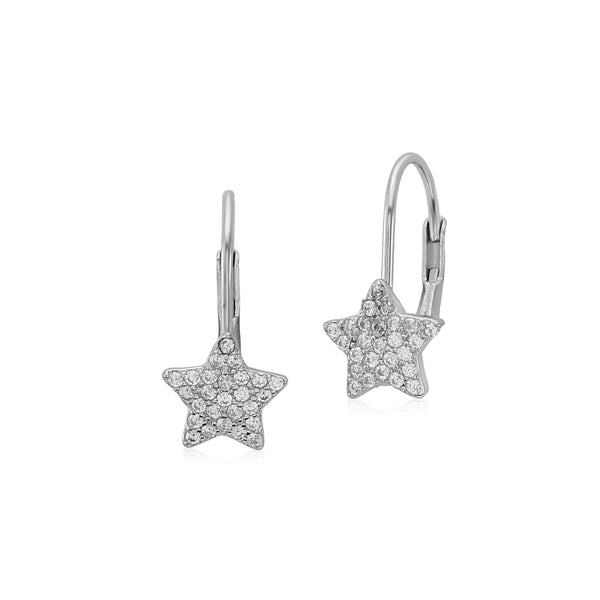 UNICORNJ Sterling Silver 925 Star Leverback Earrings with Pave CZ Italy