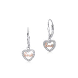 Sterling Silver 925 Dangle Leverback Earrings Heart Outline with CZ's and Love Letters Italy
