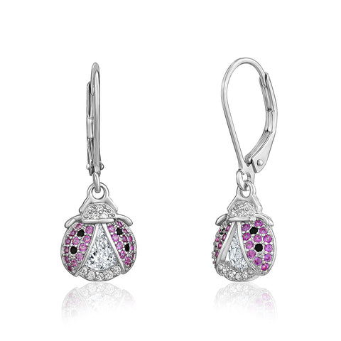 Sterling Silver 925 Large Ladybug Dangle Leverback Earrings with Pink and Black Pave Cubic Zirconia