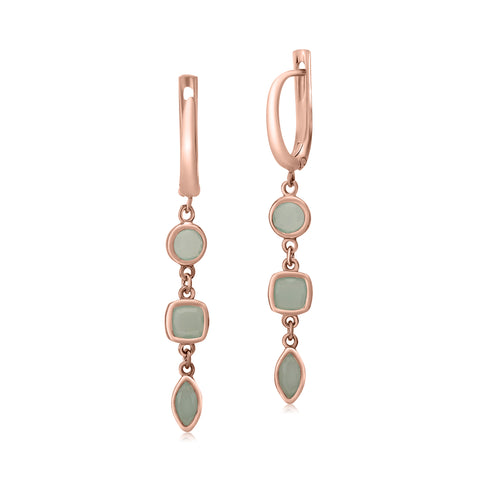 UNICORNJ Sterling Silver Rose Gold Plated Leverback Earrings 3 Tier Dangle Green Simulated Stones