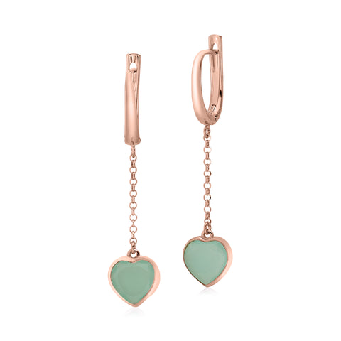 UNICORNJ Sterling Silver Rose Gold Plated Heart Leverback Earrings Dangle Green Simulated Stone