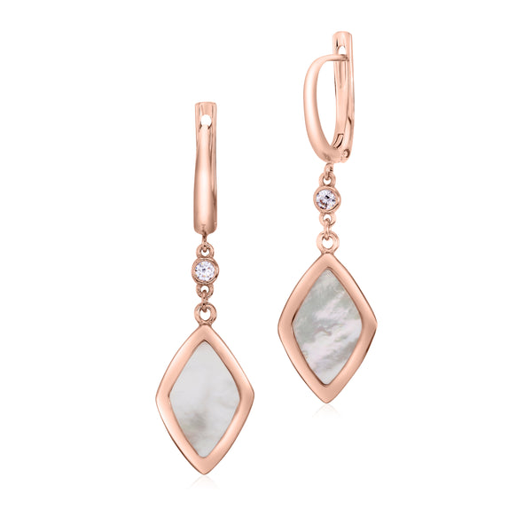 UNICORNJ Sterling Silver Rose Gold Plated Earrings Bezel Set CZ and Rhombus Shape Mother of Pearl