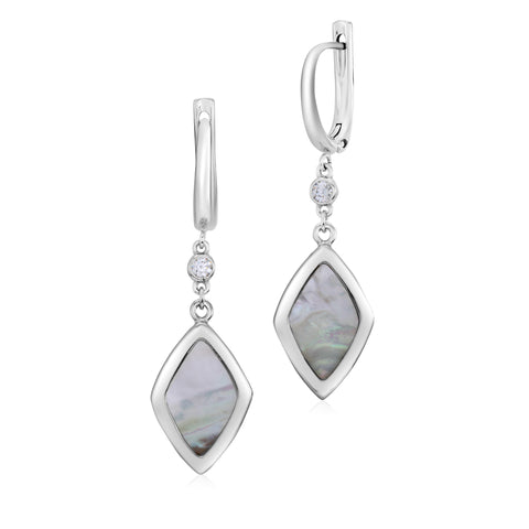 UNICORNJ Sterling Silver Leverback Earrings Bezel Set CZ and Rhombus Shape Mother of Pearl Dangle