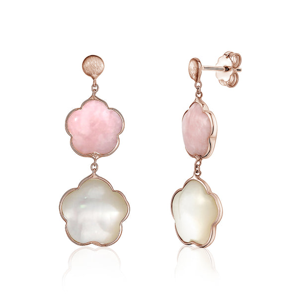 14K Rose Gold Earring Double Flower Drop Dangle Flower Shape Cabochon Pink Opal and Mother of Pearl Italy