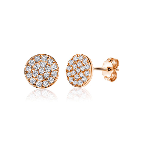 UNICORNJ Adult Tween Teen 14k Rose Gold Cubic Zirconia Pave Round Disc Stud Post Earrings 7mm Diameter Italy