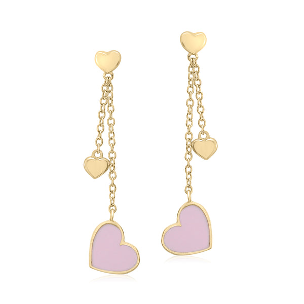 UNICORNJ 14K Yellow Gold Long Double Dangle Drop Heart Earrings with Pink Enamel Italy
