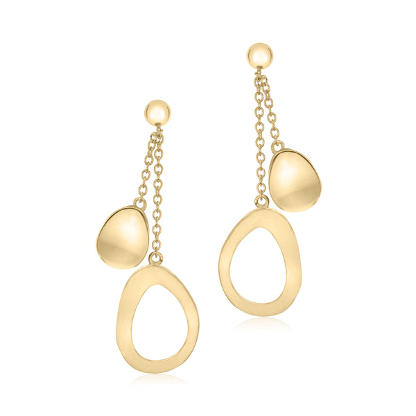 UNICORNJ 14K Yellow Gold Polished Long Double Dangle Drop Curved Open and Solid Teardrop Earrings Italy