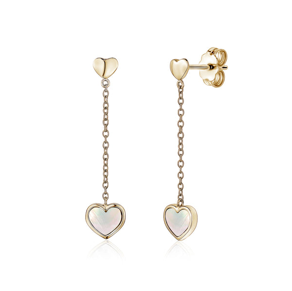 14K Yellow Gold Heart Earring Drop Dangle Mother of Pearl for Girls and Women Italy