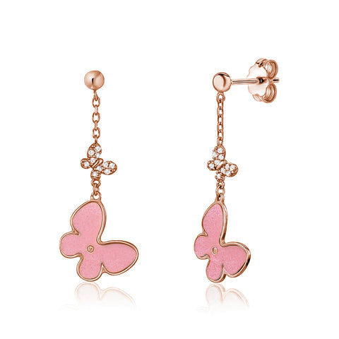14K Rose Gold Butterfly Dangle Post Earrings with Pink Mother of Pearl and Simulated Diamonds Italy