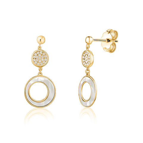 14K Yelow Gold Round Circle Disc Post Dangle Earrings with Mother of Pearl and Simulated Diamonds Italy