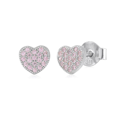Heart Earrings in Sterling Silver with CZ Pavé