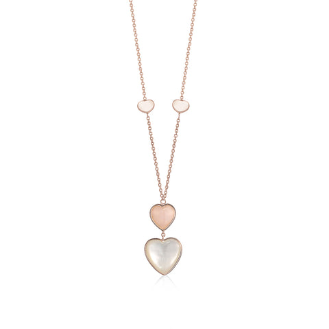 14K Rose Gold Pendant Necklace Double Heart Drop Heart Shape Cabochon Pink Opal and Mother of Pearl Italy 17""
