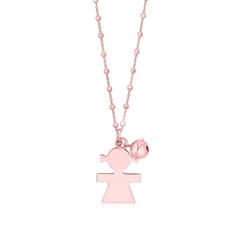 Sterling Silver High Polished Large Girl Silhouette Figure All Rose Gold Plated Pendant Necklace Long Rolo Chain 30""