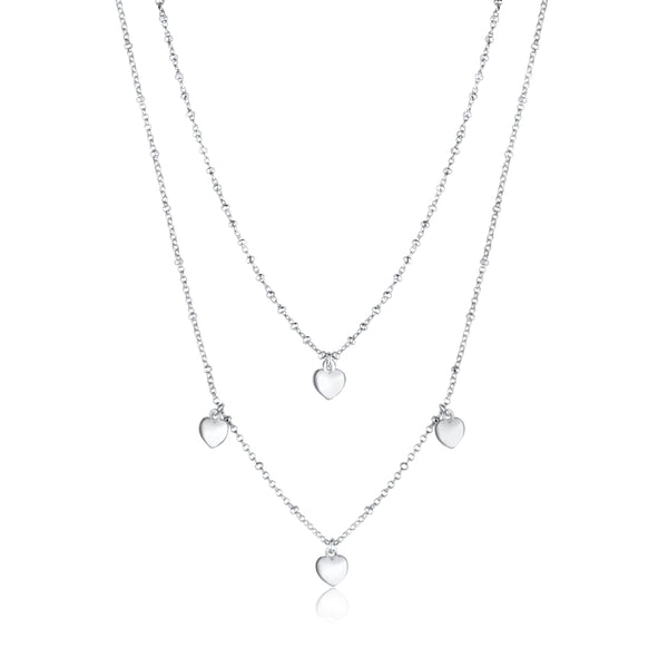 Sterling Silver Multiple Mini Hearts Double Chain Necklace 18""
