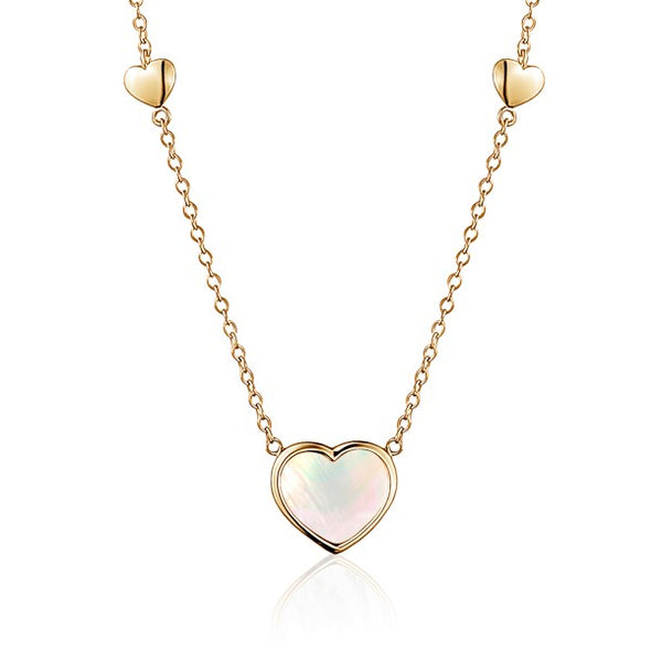 14K Yellow Gold Heart Pendant necklace Mother of Pearl for Girls and Women Italy 16""