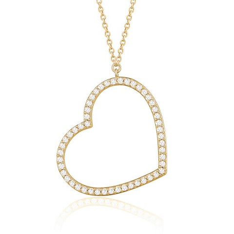 14K Yellow Gold Heart Pendant Necklace Sideways Outline with Simulated Diamonds Italy 16.5""