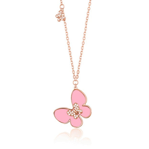 14K Rose Gold Butterfly Necklace Pendant with Pink Mother of Pearl and Simulated Diamonds Italy 17.5""