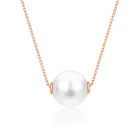 14K Rose Gold Necklace Pendant with Floating Freshwater Cultured Pearl 15.5""