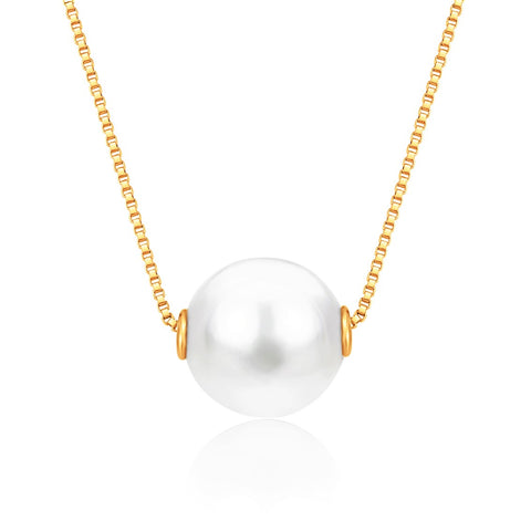 14K Yellow Gold Necklace Pendant with Floating Freshwater Cultured Pearl 15.5""