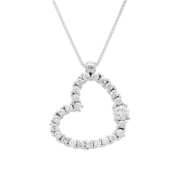 Gold Teen Pendant UNICORNJ Childrens 14k White Gold Cubic Zirconia Sideways Heart Pendant Necklace 16.5""