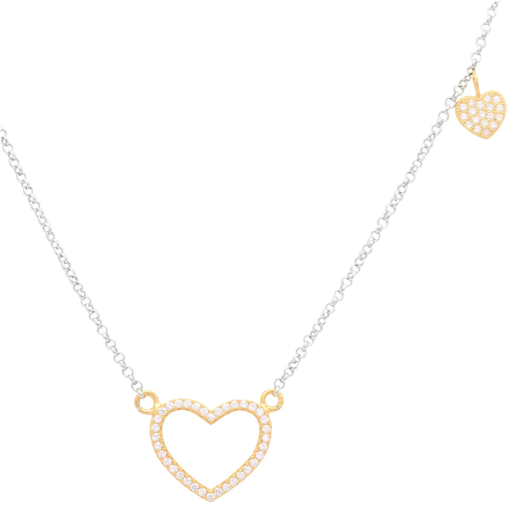 Sterling Silver Necklace Pendant for Girls Circle and Double Heart with Simulated Diamonds 17.5