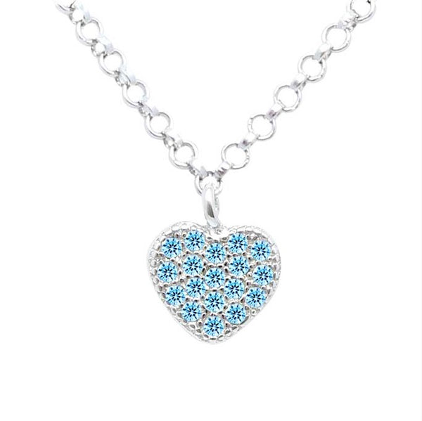 Silver Kids Heart Necklace UNICORNJ Childrens Sterling Silver Light Blue Cubic Zirconia Pave Small Heart Pendant Necklace 15""