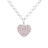 Silver Kids Heart Necklace UNICORNJ Childrens Sterling Silver Pink Cubic Zirconia Pave Small Heart Pendant Necklace 15""
