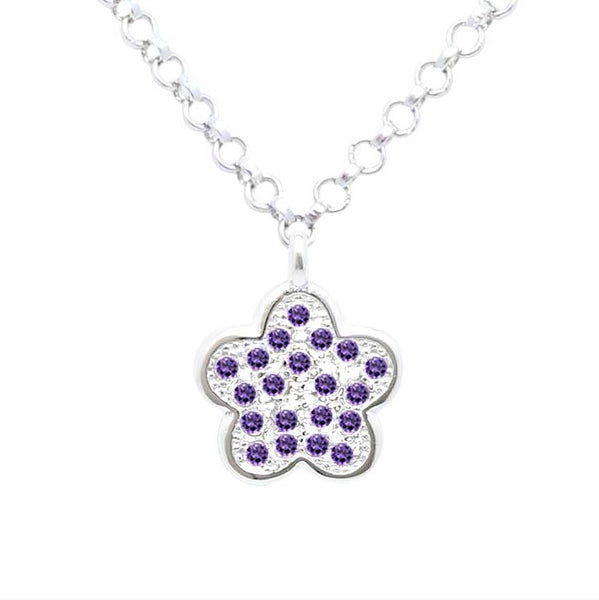 Silver Kids Flower Necklace UNICORNJ Childrens Sterling Silver Purple Cubic Zirconia Pave Small Flower Pendant Necklace 16""