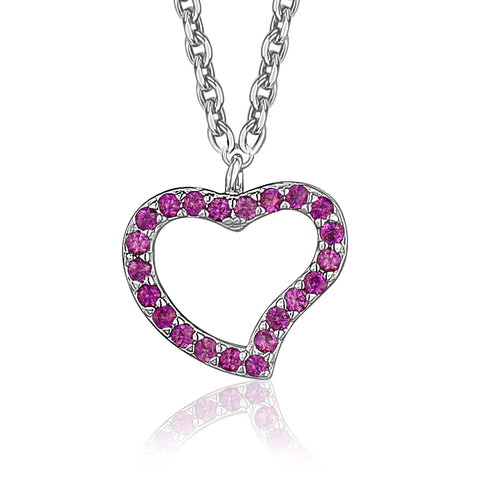 Sterling Silver Open Heart Design Charm Pendant Necklace with Pavé Dark Pink Cubic Zirconia