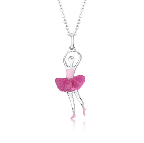 Ballet Dancer Pendant Necklace in Sterling Silver and Enamel