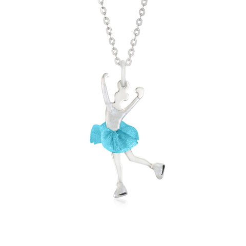 UNICORNJ Childrens Teens Sterling Silver Figure Skater Layback Spin Pendant with Ligh Blue Color Tulle Skirt and Enamel 16""