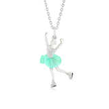 Silver Skater Necklace UNICORNJ Teens Silver Figure Skater Pendant Necklace