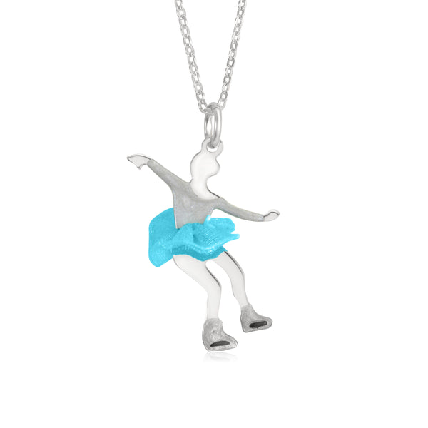 UNICORNJ Childrens Teens Sterling Silver Figure Skater Pendant with Light Blue Color Tulle Skirt and Enamel 16""