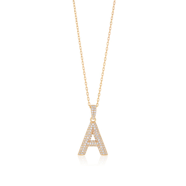 Initial Necklace in Gold-Plated Sterling Silver