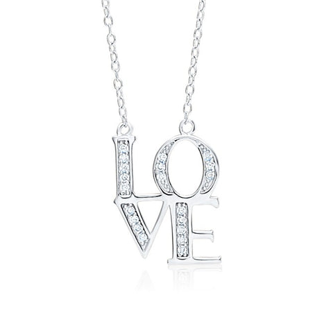 LOVE Necklace Pendant Sterling Silver 925 with Simulated Diamonds 18""