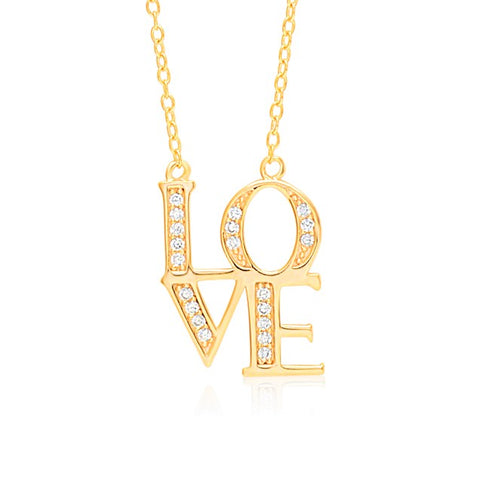 LOVE Necklace Pendant Sterling Silver 925 Yellow Gold Plated with Simulated Diamonds 18""