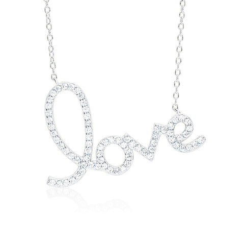 Script Love Necklace Pendant Sterling Silver 925 with Simulated Diamonds 17""