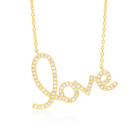 Script Love Necklace Pendant Sterling Silver 925 Yellow Gold Plated with Simulated Diamonds 17""