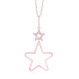 Sterling Silver Polished Rose Gold Plated Large Double Star Pendant 18""
