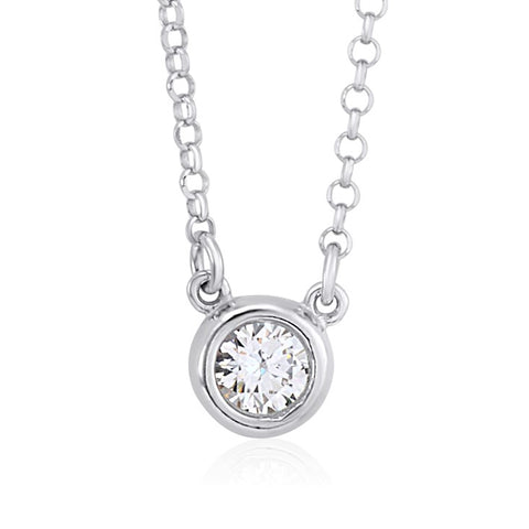 UNICORNJ Sterling Silver Polished Bezel Set Round Simulated Diamond Solitaire 6mm Necklace