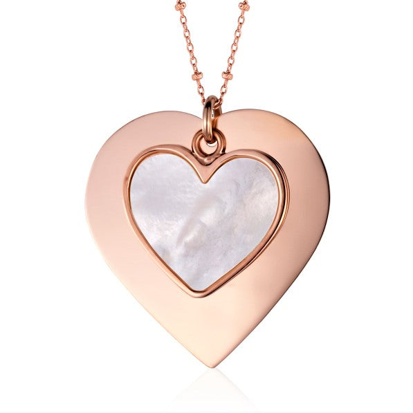 Sterling Silver Large Layered Double Heart Pendant with Mother of Pearl Inlay Rose Gold Plated 28""