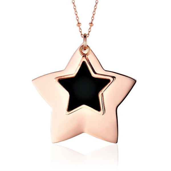 Sterling Silver Large Layered Double Star Pendant Necklace with Onyx Inlay Rose Gold Plated 28""