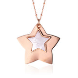 Sterling Silver Large Layered Double Star Pendant with Mother of Pearl Inlay Rose Gold Plated 28""