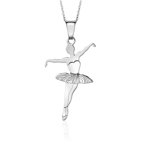 Sterling Silver Ballet Dancer 1 Pendant Necklace for Girls on Cable Chain 16""
