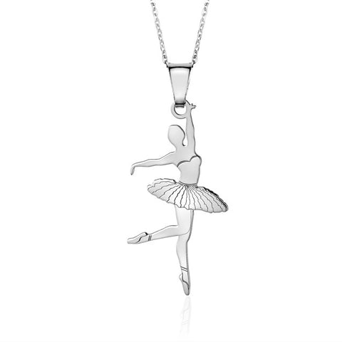Sterling Silver Ballet Dancer 3 Pendant Necklace for Girls on Cable Chain 16""
